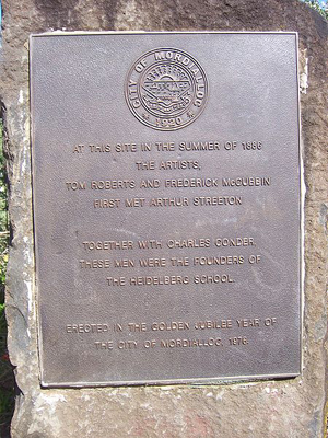 A plaque commemorating the first meeting of Tom Roberts and Frederick McCubbin with Arthur Streeton in 1886