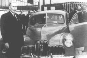 Prime minister Ben Chifley at the launch of the first Holden car at the Fishermens Bend plant, 1948