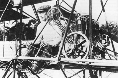 John Duigan in the first Australian-built biplane, which he built