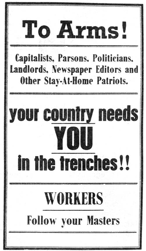 An anti-conscription poster published by the Industrial Workers of the World in 1916