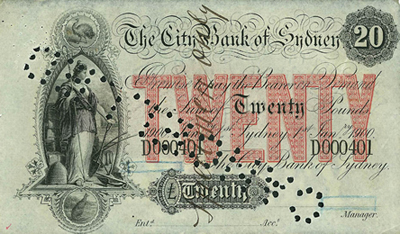 A 20 pound note issued by The City Bank of Sydney early in the 1900s